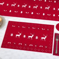 Reindeer Felt Place Mats - Red (4)